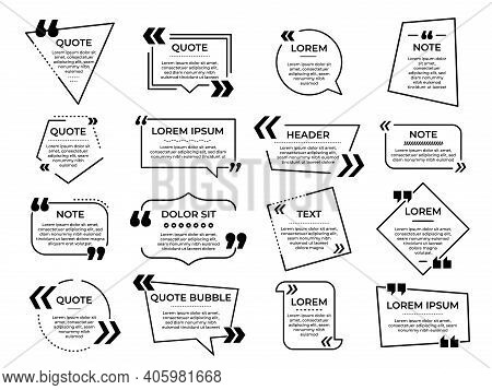 Quotation Frame. Message Quote Memo, Info Speech Bubbles Templates. Text Mark, Chat Box Or Line Comm