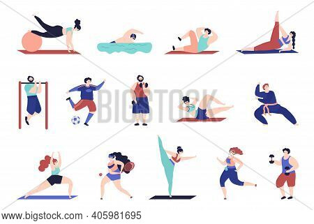 Sport Training Characters. Gymnastics Person, Isolated People Workout. Girl Boy Jump, Doing Exercise