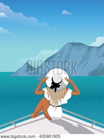 Digital Illustration A Girl In A White Swimsuit And A Hat Travels On A Liner On A Cruise On Vacation