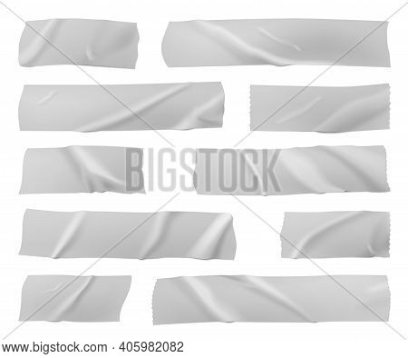 Adhesive Tapes. Gray Scotch Strip, Adhesive Sticky Band Pieces. Isolated Torn Paper Sheet, Realistic