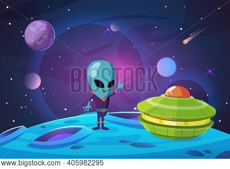 Space Colonization Background. Alien, Ufo Character On New Planet In Universe. Spaceship And Galaxy,