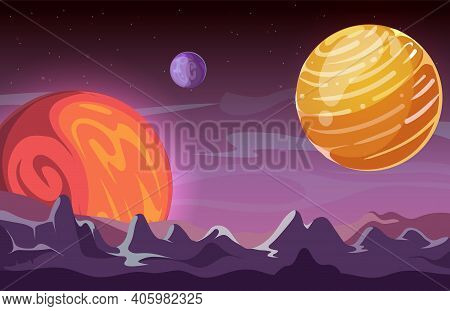 Universe Background. Cartoon Space, Planets In Cosmos. Game Location, Mars Or Mystic World Vector Il