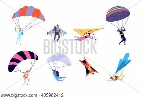 Extreme Sports. Recreation, Parachute Sportsman Jumps. Active Hobbies, People On Gliders Paraglider
