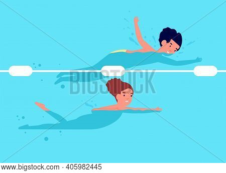 Swimming Competition. Kids Swim, Cartoon Happy Child Recreation. Boy Girl In Pool, Sport Or Healthy