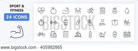 Set Of 24 Sport And Fitness, Healthy Food Web Icons In Line Style. Soccer, Nutrition, Workout, Teamw