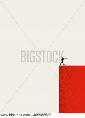 Business Ambition And Motivation Vector Concept. Businessman With Baseball Bat.