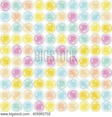 Scribbled Ink Line Circle Vector Seamless Pattern Background. Colorful Backdrop With Brush Stroke Sc