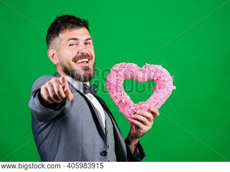 Hipster Hold Heart Symbol Love. Romantic Surprise. Man Formal Suit Celebrate Valentines Day Green Ba