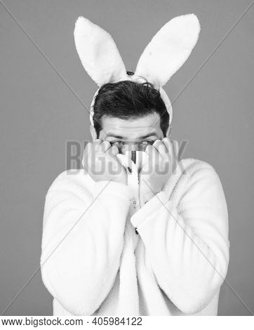 Easter Bunny. White Bunny Symbol Of Easter Holiday. Soft And Tender. Guy With Long Bunny Or Rabbit E