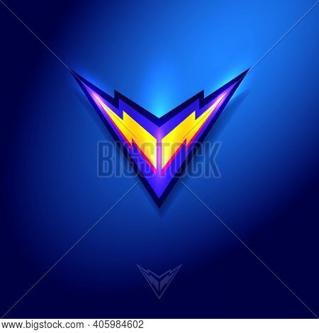 V Letter. V Monogram Consist Of Two Flash Lightning Bolts. Voltage, Volt Icon. Double Lightning Logo