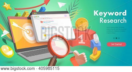 3d Isometric Flat Vector Conceptual Illustration Of Keyword Research.