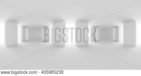 Abstract White Empty White Hall With White Floor, Ceiling And Columns Hdri Environment Map, White Co