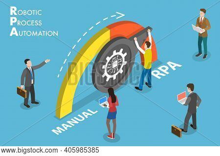 3d Isometric Vector Conceptual Illustration Of Rpa - Robotic Process Automation.