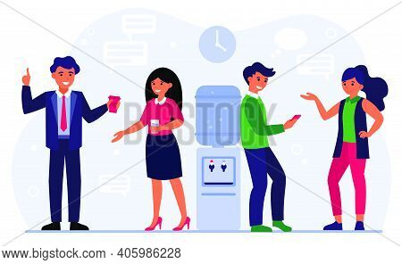 Colleagues Meeting, Business Talk, Communication Concept. Office People Gossiping At Water Cooler, D