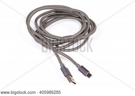 High Quality Braided Cable With Plugs Usb Standard A And Micro-usb Standard B At The Edges On A Whit