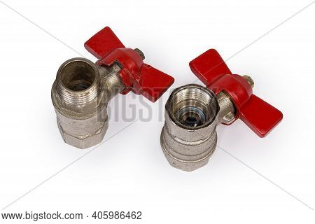 Two Ball Valves With Brass Bodies And Red Butterfly Handles Stand With Threaded Connection Of Variou