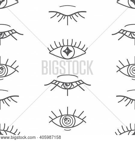 Vector Magical Eyes Lineart In Graphite On White Seamless Pattern Background. Perfect For Fabric, Wa