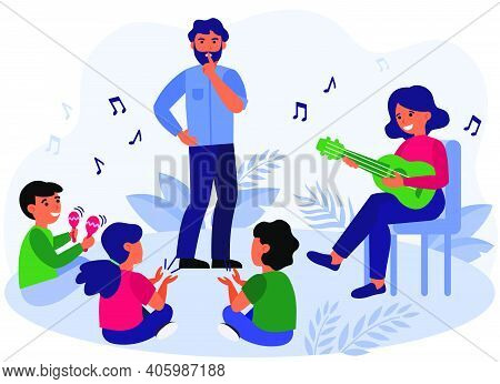Father Asking Kids To Keep Silence. Playing Guitar, Maracas, Fun Flat Vector Illustration. Family, M