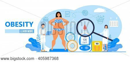 Obesity Concept Vector. Obsessive Woman Eats Unhealthy Food. Diabetes, Atherosclerosis, Hypertension