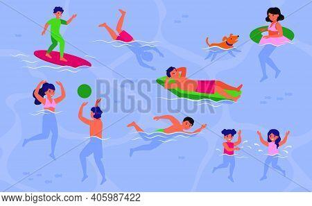 Happy People Swimming In Pool Or Sea. Men, Women And Children Enjoying Activities In Ocean, Playing,
