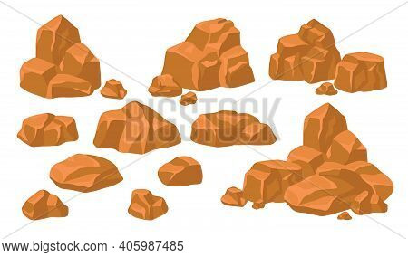 Heaps Of Rock Stones Set. Piles Of Massive Brown Boulders And Cobbles Isolated On Blue Background. F