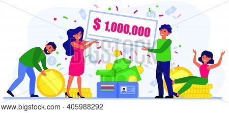 People Winning Million Bill At Lottery. Man And Woman Holding Check Among Coins And Banknotes Flat V