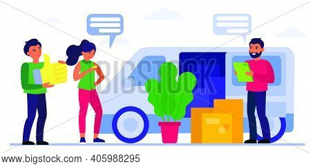 People With Boxes At Moving Truck. Van, Couple, Moving House, Cargo Flat Vector Illustration. Delive