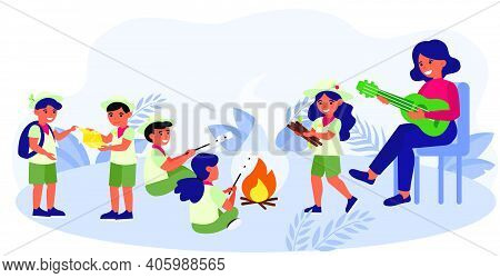 Scouts Group Leader Playing Guitar. Children Wearing Uniform, Bonfire, Camping Flat Vector Illustrat