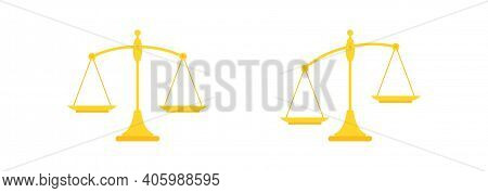 Golden Mechanical Scales Balance Icon Set Isolated On White. Justice, Law Scale. Vector Illustration