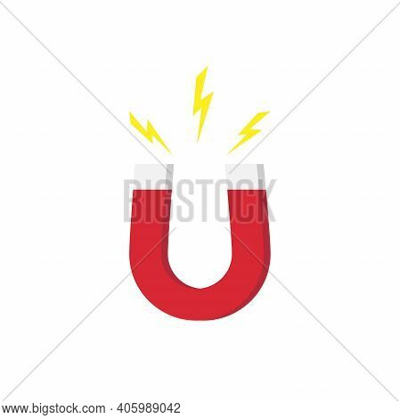 Red Horseshoe Magnet With Magnetic Power Sign On White Background. U-shaped Magnet Icon. Magnetism,