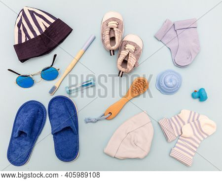 Baby Boy Accesories On Blue Background, Baby Shower Concept