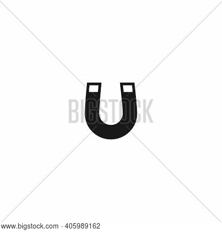 Black Horseshoe Magnet With Magnetic Power Icon Isolated On White. U-shaped Magnet Icon. Magnetism,
