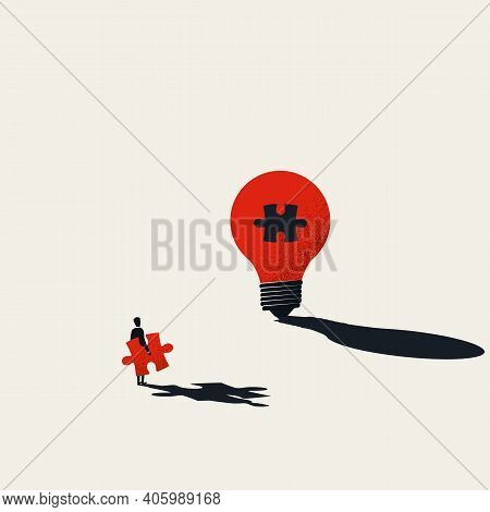 Business Creativity Vector Concept. Finishing Lightbulb With Jigsaw Puzzle. Symbol Of Inspiration, C