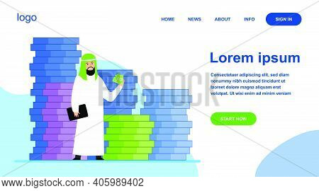 Arabic Business Man. Person In Traditional Ethnic Clothes Standing At Huge Heap Of Money Cash Flat V