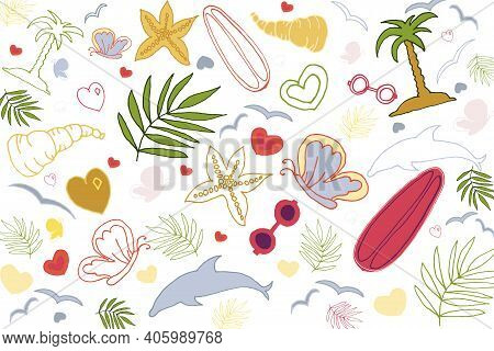 Summer Background With Dolphin, Palms, Butterflies, Glasses, Heart, Seashells, Starfish, Twigs. Vect