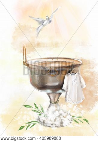 Illustration A Metal Font In A Church For The Baptism Of Children And A White Baptismal Shirt