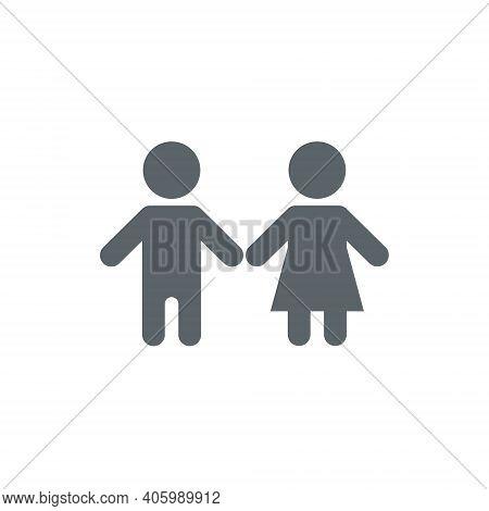 Child Vector Icon, Happy Boy And Girl Children Kid Pictogram