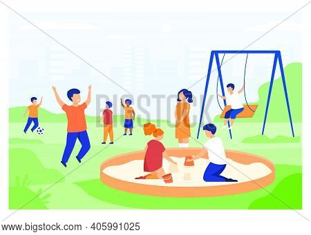 Children On Playground Concept. Happy Kids Swinging, Kicking Soccer Ball, Playing In Sandbox. Boys A