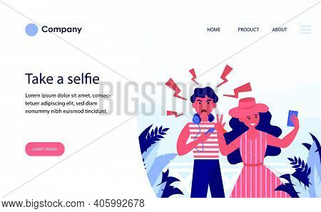 Couple Of Tourists Taking Selfie On Vacation. Annoyed Angry Man, Happy Woman Flat Vector Illustratio
