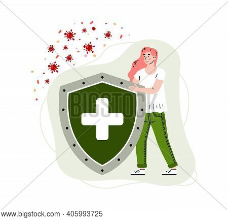 Healthy Immune System Concept. Girl Reflects Attack Viruses And Bacteria With Help Strong Immunity,