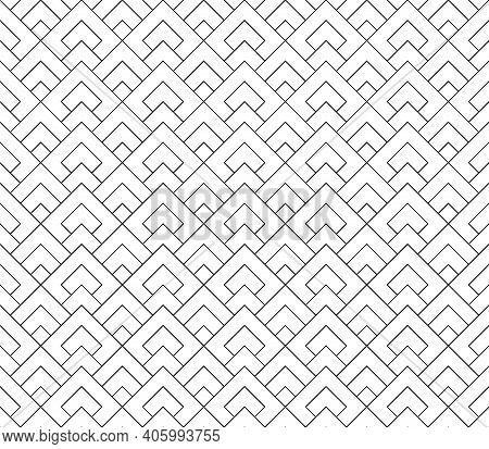 Seamless Geometric Pattern . Fine Lines In Black Color .geometric Background, Graphic Seamless Patte