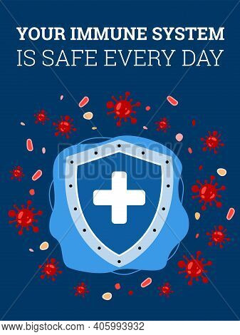 Shield Of Strong Immune System Who Protection Human Body From Attack Coronaviruses And Bacteria. Med