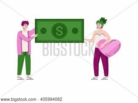 Money Charity And Donation Concept. Characters Volunteers Holding Banknote And With Love Help, Suppo