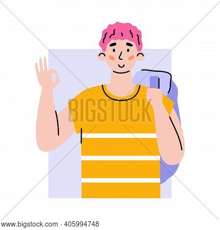 Positive Happy Male Character Gesturing Of Ok. Portrait Of Young Man Showing Gesture Okay Sign Expre