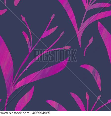 Seamless Pattern With Hand-drawn Shining Purple Gradient Branches On Blue-gray Background. Linen, Be