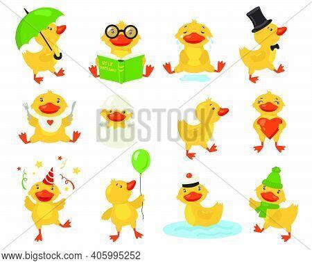 Funny Duckling Set. Cute Yellow Baby Duck Practicing Different Activities. Student Or Teacher Bird R
