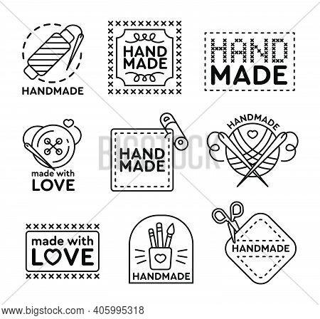 Handmade Badges Set. Emblems And Logos For Cross Stitching, Sewing, Knitting Theme Design. Black Vec