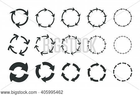 Recycling Circular Arrows Set. Cycling Circles, Reload Symbols, Graphic Monochrome Round Loop Shapes