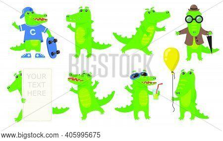 Various Green Crocodile Characters Flat Icon Set. Cartoon Funny Alligator Or Wild Amphibian Reptile