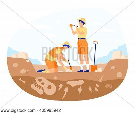Archaeologist Discovering Dinosaurs Remains. Men Digging Ground In Quarry And Cleaning Bones. Vector